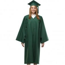 Мантия и шапочка (конфедератка) выпускника, магистра и бакалавра. Темно-зеленая