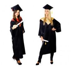 Мантия и шапочка (конфедератка) выпускника, магистра и бакалавра. Черная