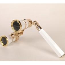 Театральный бинокль - лорнет (белый). Lorgnette Opera Glasses