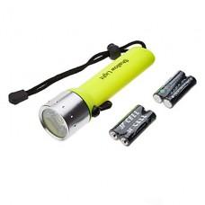 SA-819 водонепроницаемый 1-Mode Cree XR-E Q5 светодиодный фонарик дайвинга набор (200LM, 4xAA, желтый)