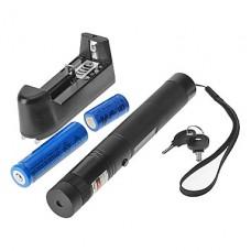 SDLaser.303 Блокируемая зеленая лазерная указка с зарядное устройство и аккумулятор (532 нм, 1x18650/1x16340, черный)