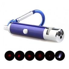 5 в 1 1mw 650nm проективной красный лазерный указатель с 2 * LED и брелок синий