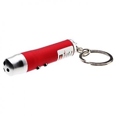 3-в-1 1-Mode Белый Свет светодиодных брелок фонарик + красный лазер (3xLR44)
