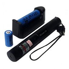 SD 303 фонарик в форме зеленая лазерная указка с аккумулятором и зарядным устройством (532 нм, 1x18650, черный)