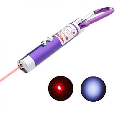 2-в-1 мини-лазер с светодиодный фонарик брелок (цвет ассорти)