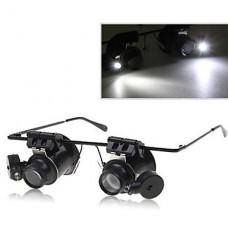 Dual Head 20-кратным увеличением очки Тип Бинокль Лупа со светодиодной подсветкой для ремонта часов
