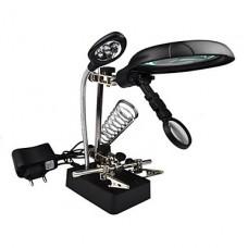 MG16129-С Рука помощи Многофункциональный Лупа 10X 7.5x 2.5X с 5 LED Lights Desktop Magnifier для ремонта модели решений
