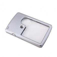 светодиодной подсветкой Лупа карта увеличительное стекло с мешком (серебро)