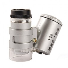 Мини микроскоп 60X с 2-LED подсветкой + и ультрафиолетовым фонариком (3*LR1130)