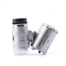 супер мини 60x микроскоп с 2-LED подсветкой + деньги / Валюта обнаружения ультрафиолетового света (3 * LR1130)