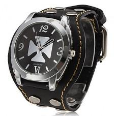 Аналоговые кварцевые часы унисекс с ремешком из кожзама (черные)