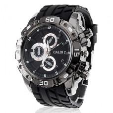Аналоговые кварцевые спортивные наручные часы с тремя маленькими циферблатами и ремешком из силикона (разные цвета)