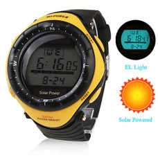 Водонепроницаемые часы на солнечной батарее с будильником, хронографом и подсветкой (желтые)