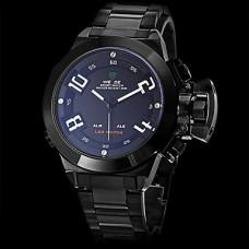 Вайде мужские военные стиль многофункциональный двойной часовых поясов черный стальной ленты кварцевые наручные часы (разные цвета)