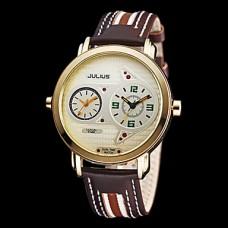 Людей Юлий Dual Time Круглый циферблат Кожаный ремешок Кварцевые аналоговые наручные часы (разных цветов)