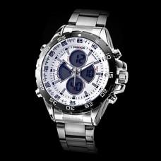Вайде мужские пилот стиль многофункциональные зоны двойного времени белый циферблат стальной ленты кварцевые наручные часы