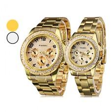 алмаз случае золото стальной ленты кварцевые наручные часы пары (разные цвета)
