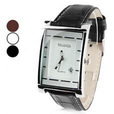 Аналоговые кварцевые наручные часы унисекс с календарем и ремешком из кожзама (разные цвета)