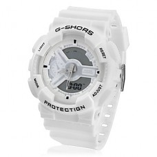 Водонепроницаемые спортивные часы с двумя циферблатами (белые)