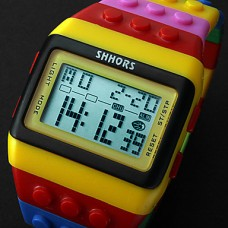 Разноцветные светодиодные часы унисекс в стиле Lego