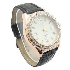 женская стразами шаблон белый набрать PU Группа Кварцевые аналоговые наручные часы