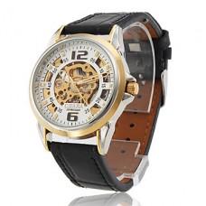Мужские механические часы с черным ремешком