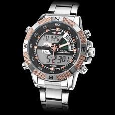Вайде мужской стиль милитари многофункциональный двойной временной зоны стальной ленты кварцевые наручные часы