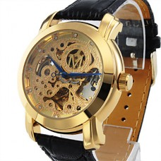 Автоматические механические часы с золотистым гравированным циферблатом