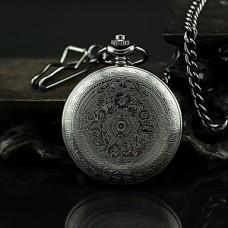 Часы карманные кварцевые черные из сплава с римскими цифрами