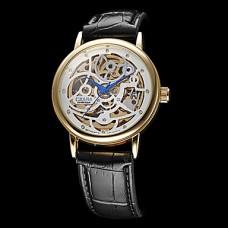Мужская Hollow Гравировка водостойкой Круглый циферблат Кожаный ремешок Полу-механические наручные часы (разных цветов)
