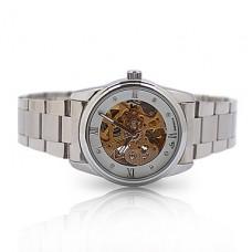 женская авто-механического золото скелет стальной ленты наручные часы