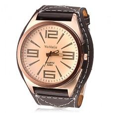 Кварцевые часы унисекс с большим циферблатом (коричневые)
