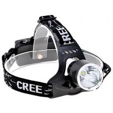 3-режим CREE XM-L T6 белый свет Светодиодные фары (650LM, 2x18650, черный)