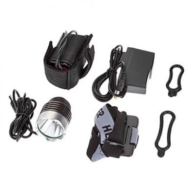 3-Mode 1xCree XM-L T6 светодиодный свет велосипедов Передняя / фары (1000LM, 4x18650, Темно-серый)