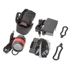 3-Mode 1xCree XM-L T6 светодиодные велосипедов Передняя свет / фары (1000LM, 4x18650, черный + красный)