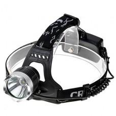 3-режим CREE XM-L T6 холодный белый свет Светодиодные фары (650LM, 2x18650, черный)