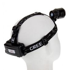 3-Mode Cree XM-L T6 высокой мощности Светодиодные фары (1000LM, 2x18650, Черный)