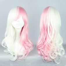 Dangan Ronpa Monomi Розовый и белый смешанных Cosplay Парик