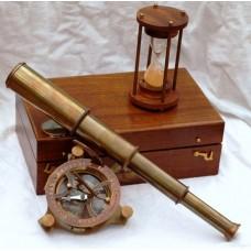 Морской набор: компас,подзорная труба, песочные часы.