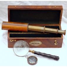 Набор морской - подзорная труба, лупа, компас