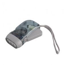 1-Mode Cree XR-E Q5 3-светодиодный фонарик (Динамо, серый)