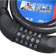 5-значный кодовый стальных тросов безопасности велосипедов блокировки Set - черный (120 см, 566)